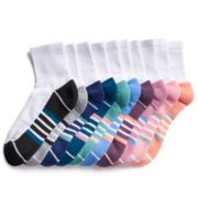 Women's Tek Gear® 10-Pack Striped Quarter Socks