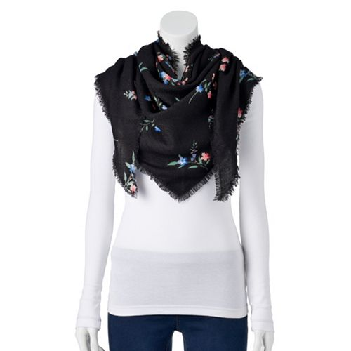 Women's Candie's® Fringed Floral Print Triangle Scarf