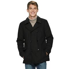 Men's Urban Republic Sherpa-Lined Wool-Blend Peacoat