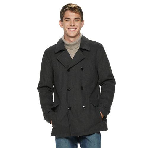 Men's Urban Republic Sherpa-Lined Wool-Blend Peacoat