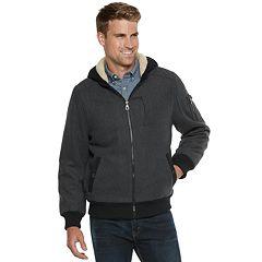 Men's Urban Republic Wool-Blend Sherpa-Lined Hooded Bomber Jacket
