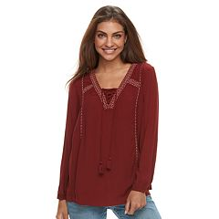 Petite SONOMA Goods for Life™ Lace-Up Gauze Peasant Top