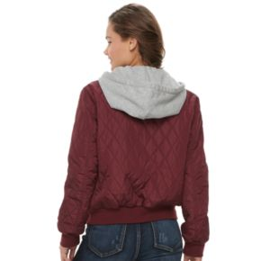 Juniors' Pink Republic Quilted Bomber Jacket
