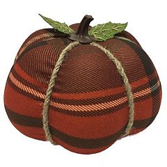 Celebrate Fall Together Small Flannel Pumpkin Table Decor