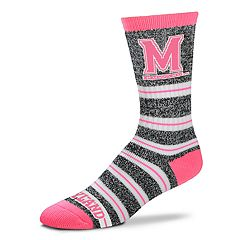 Women's For Bare Feet Maryland Terrapins Striped Crew Socks
