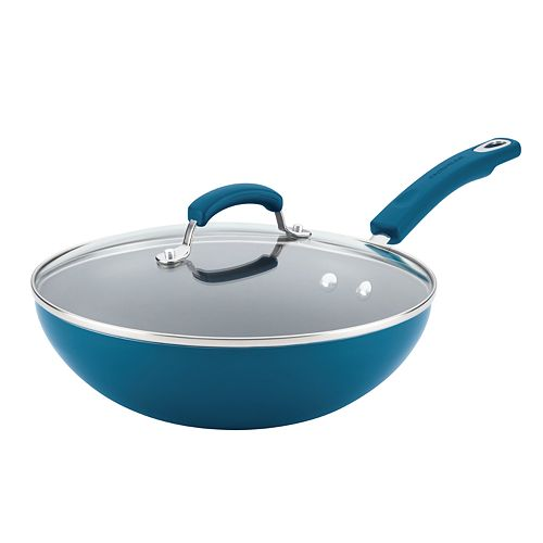 Rachael Ray Classic Brights Aluminum Nonstick Stir Fry Pan with Glass Lid