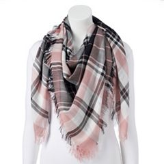Women's Candie's® Pink Plaid Square Scarf