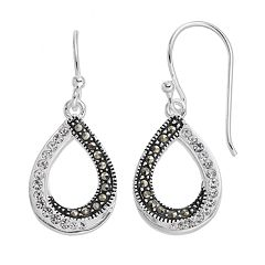 Silver Expressions by LArocksMarcasite & Crystal Teardrop Earrings