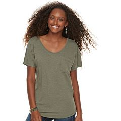 Juniors' SO® Cross Back Short Sleeve Tee