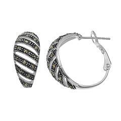 Silver Expressions by LArocksMarcasite Striped Hoop Earrings
