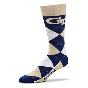 Adult For Bare Feet Georgia Tech Yellow Jackets Argyle Crew Socks