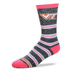 Women's For Bare Feet Virginia Tech Hokies Striped Crew Socks