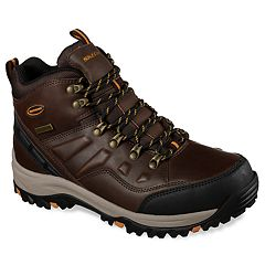 f420b733cb0a1 Skechers Relaxed Fit Relment Traven Men's Waterproof Boots. Dark Brown Black