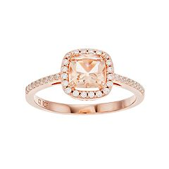 14k Rose Gold Over Silver Simulated Morganite & Cubic Zirconia Square Halo Ring