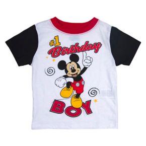 "Disney's Mickey Mouse Toddler Boy ""#1 Birthday Boy"" Colorblock Graphic Tee"
