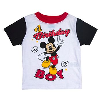 Disneys Mickey Mouse Toddler Boy 1 Birthday Colorblock Graphic Tee