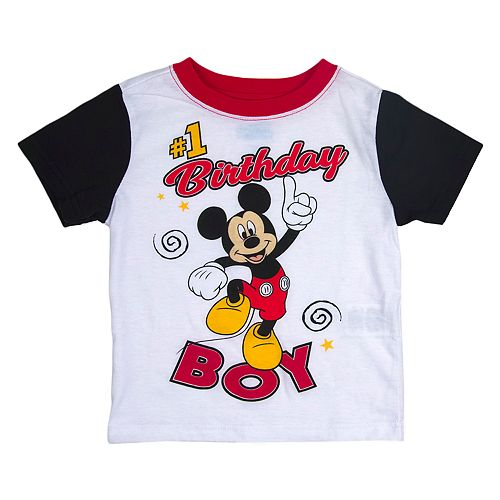 "Disney's Mickey Mouse Toddler Boy ""#1 Birthday Boy"" Colorblock Graphic Tee"