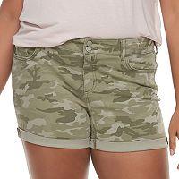 Juniors' Plus Size SO® Cuffed Midi Jean Shorts