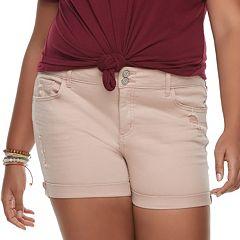 Juniors' Plus Size SO® Cuffed Midi Jean Shorts