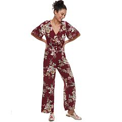 Juniors' Speechless Flutter Sleeve Floral Jumpsuit