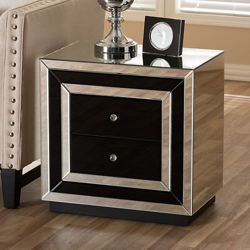 Baxton Studio Cecilia Mirrored Nightstand by Baxton Studio