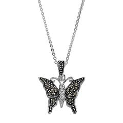 Silver Expressions by LArocksMarcasite & Crystal Butterfly Pendant Necklace