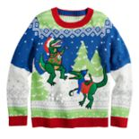 Boys 8-20 Dinosaur Snowball Fight Sweater