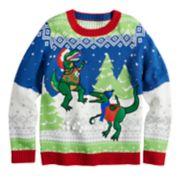 Boys 8-20 Dinosaur Snowball Fight Sweater