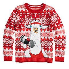 Boys 8-20 Llama Fairisle Sweater