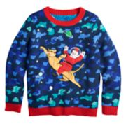 Boys 8-20 Santa Space Cat Sweater