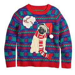 Boys 8-20 Pug Holiday Dreams Sweater