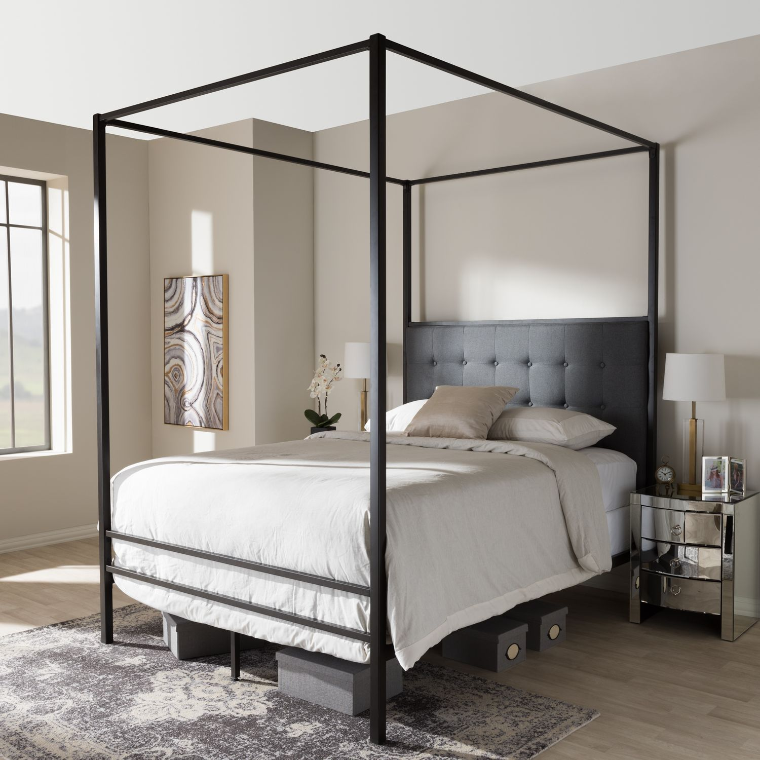Baxton Studio Eleanor Canopy Queen Bed : canopy-bed-studio-apartment - designwebi.com