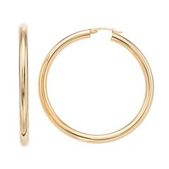 Forever 14K Polished Tube Hoop Earrings