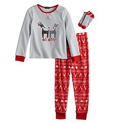 Girls 4-12 Cuddl Duds 'Oh Deer' Top & Fleece Fairisle Bottoms Pajama Set with Socks