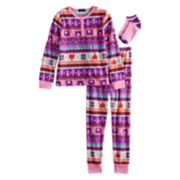 Girls 4-12 Cuddl Duds Fleece Top & Bottoms Pajama Set with Socks