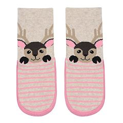 Baby Girl Jumping Beans® Deer Slipper Socks