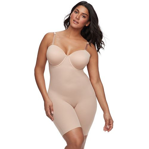 661c7aa153088 Plus Size Red Hot by Spanx Convertible Cupped Mid-Thigh Bodysuit 10173R