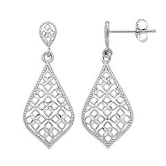 Forever 14K White Gold Openwork Teardrop Earrings