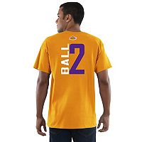 Men's Majestic Los Angeles Lakers Lonzo Ball Name & Number Vertical Tee