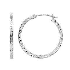 Forever 14K White Gold Textured Hoop Earrings
