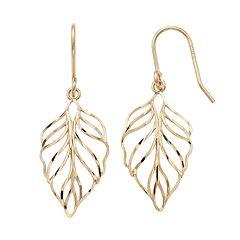 Forever 14K Openwork Leaf Drop Earrings