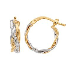 Forever 14K Two Tone Twisted Hoop Earrings