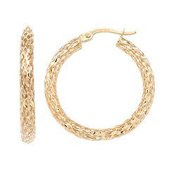 Forever 14K Mesh Hoop Earrings