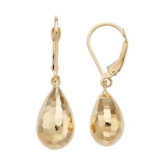 Forever 14k Gold Hammered Teardrop Earrings