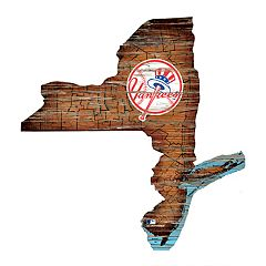 New York Yankees 24-Inch Logo Distressed State Sign