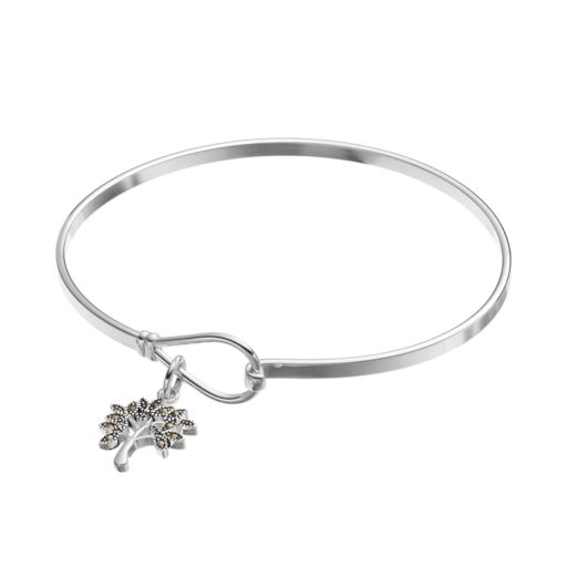 Silver Expressions by LArocks Silver Plated Marcasite Tree Charm Bangle Bracelet
