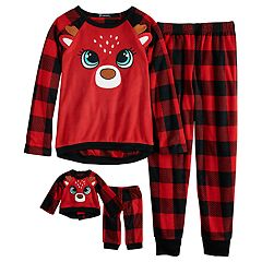 Girls 4-12 Cuddl Duds Christmas Reindeer Buffalo Plaid Fleece Top & Bottoms Pajama Set & Doll Pajama Set