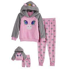Girls 4-12 Cuddl Duds Unicorn Hooded Top & Heart Fleece Bottoms Pajama Set & Matching Doll Set
