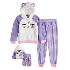 Girls 4-12 Cuddl Duds Kitty Cat Sherpa Hooded Top & Striped Bottoms Pajama Set & Matching Doll Pajamas