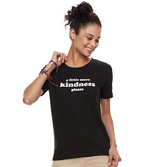 Juniors' THE PRINT SHOP 'A Little More Kindness Please' Ringer Tee